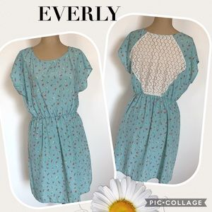 EVERLY Robins Egg Blue Dress with Flowers & Lace